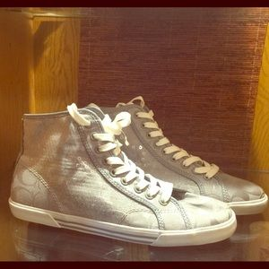 NWOT Coach high top sequin sneakers